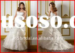 2012 Layered Mermaid/Trumpet Strapless Beaded Organza Wedding dress