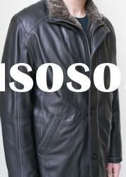 2012 Men's Leather Coat Jacket - Faux Fur Collar