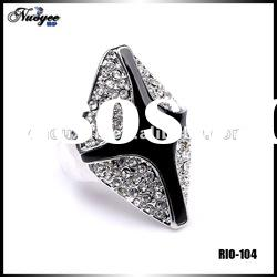 2012 Silver Mesh Black Epoxy Cross Style Crystal Jewelry Ring