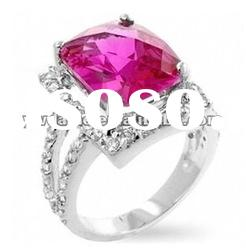 2012 new design cubic zircon set in center, surface pave crystal with silver plated ring