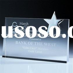 3d laser crystal award with a star on right hand