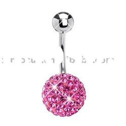 CZ Crystal Pave Ball Belly Ring by Ferido - Rose Pink Body Jewelry