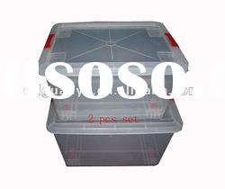 Custom plastic injection molding for transparent storage crate used for home, hotel