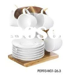 Durable Set/6 Ceramic Coffee Cup Set With Bamboo Holder