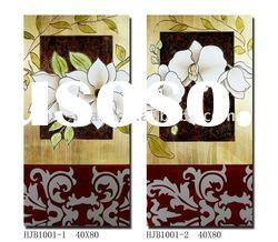 Engraved Flower Wood Wall Home Decor, Set of 2