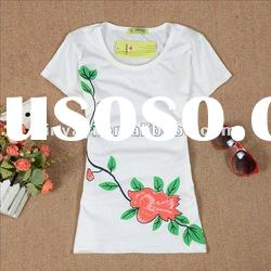 Fashion 100% plain cotton/spandex women t shirt sale