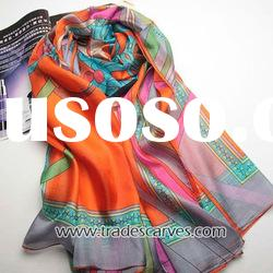 Fashion ladies printed long silk scarf