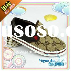 Fashionable Brand Name Logo Leather Casual Childrens Shoes