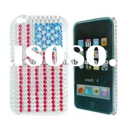 Flag Designer case with Bling Diamond for ipod touch 4 Plastic case