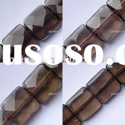Gemstone beads, smoky quartz, faceted square, 10mm, sold per 16-inch strand, GS3536