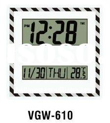 Glass clock with digital lcd display