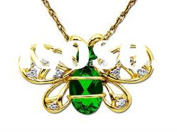 Green Emerald Necklace,Golden Animal Pendant Necklace, Bees Necklace