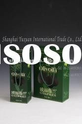 Green rigid paper gift box for Olive oil paper board, with fantastic printing.