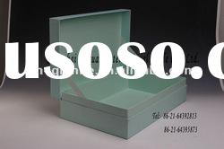 Green rigid paper gift box with fancy ribbon