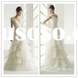 Hot sale ! Classic best-selling elegant cap sleeve sweetheart wedding dress organza