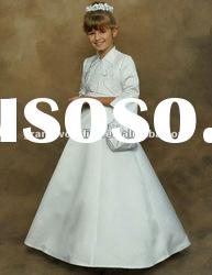 Long Sleeves Satin White Flower Girl Dress Best Price FL-100