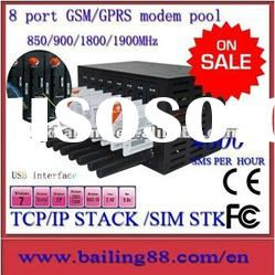 Low cost gsm gprs 8 port modem pool with STK and TCP/IP Quad band