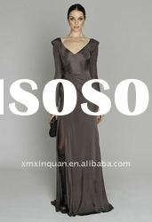 ML020 women high slit brown haute couture formal long sleeve evening dress 2012