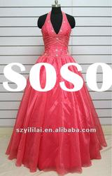 MW066 real sample red halter lace sash pattern china wedding dress gown wholesale
