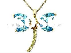 Multi-color Dragonfly Crystal&Topaz Pendant/Animal Pendant Jewelry/Fashion Jewelry