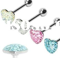 Multi-gemmed epoxy crystal heart tongue ring body piercing jewelry