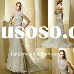 New arrival sleeveless halter high neck beaded lace wedding dress
