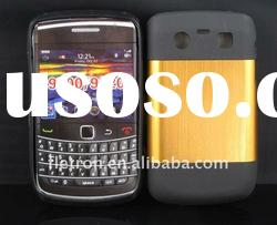 New design ! Yellow Metal Aluminum Surface+Silicone Shiny Back Case For Blackberry Bold 9700/9020