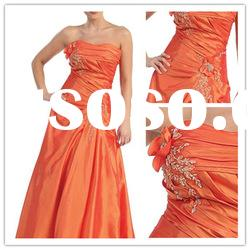 New style strapless A-line Floor-Length satin beaded ruffle Formal Evening Dress