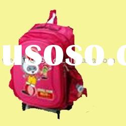 Red nylon cartoon Trolley school backpack bag with wheel