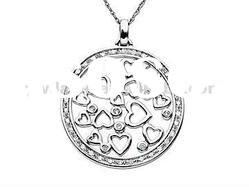 Round Shape Crystal Pendent Necklace/Hearts Silver Necklace/Fashion Jewelry