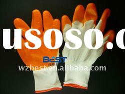 Rubber Coated Working Cotton Gloves, safety knitting gloves, Nature White, Bleach White