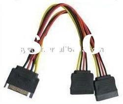 SATA 15pin male to 2 female data cable