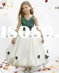 Spaghetti Strap V-neck Taffeta 2012 New Flower Girl Dress FL-110