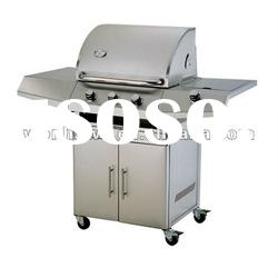 Stainless steel Gas Grill BBQ with three main burner and one side burner