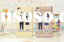The cartoon lovers Boy and Girl glasses flip soft leather love case for iphone 4g 4s