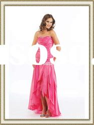 Trendy Short Front Long Back Holiday Dress 2012 Sweetheart Strapless Prom Dress