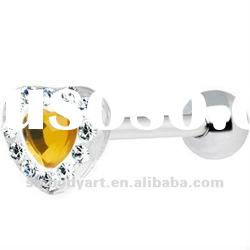 Yellow Heart Acrylic Paved Gem Barbell Tongue Ring Piercing Jewelry