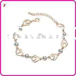 beautiful China made alloy gold plated heart shape with white crystal bracelet jewelry(B100921)