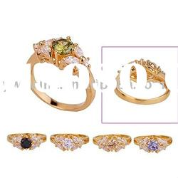 copper plating 18k gold ring with colorful zircon 190598