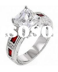 cubic zircon with crystal set in surface, silver plated elegant ring