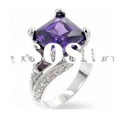 delicate purple zircon set in center, crystal set surface with plating silver engagement ring