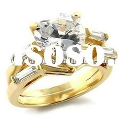 elegant heart shape zircon with double circles plating gold ring