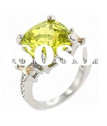 elegant yellow zircon set in center, crystal set in surface, plating silver ring