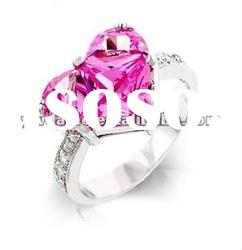 fashion heart shape zircon set in center, crystal set in surface with silver plating lover ring