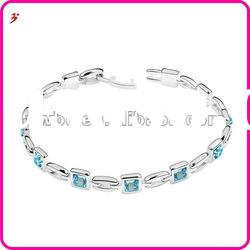 fast shipping silver plated copper blue crystal bracelet for jewelry accessory(B100915)