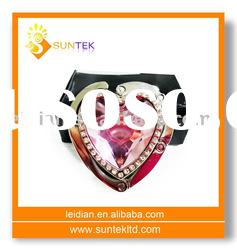 foldable heart shape Bag Hanger with rhinestones