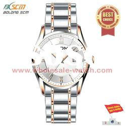 large round case alloy band business watches for men