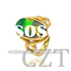 luxurious K gold plated jewelry with Autralian Natural Doublet Opal ring inlay Diamond/cz CZTjew0254