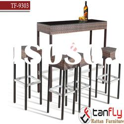 outdoor rattan wicker bar set/ bistro furniture/pool side bar stool