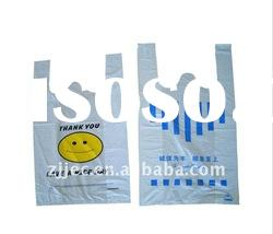 plastic thank you t-shirt bag for shopping